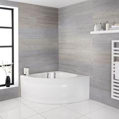 Bathroom Shop, Big Bathrooms, White Bathroom, Modern Bathroom, Small Bathroom, Wall Mounted Bath Taps, Entspannendes Bad, Corner Bath, Traditional Baths