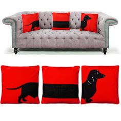 Red sausage dog cushions set | Maison Privée