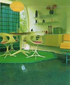Monsanto Home Of The Future Living Room (Disneyland), please notice that no people are living there. everyone is dead from chemical food