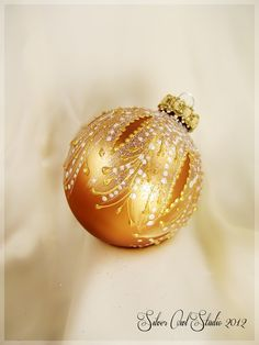 Faberge Inspired Christmas Ornament    Christmas ornament, Christmas tree ball, glass bauble, glass ornaments, hand painted, gold, glitter