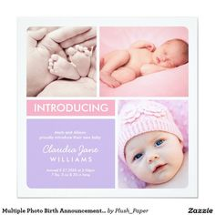 Multiple Photo Birth Announcement   Pink Purple