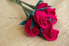 Crochet Rose Pattern  Closed Rose  Crochet Flower Pattern  by HappyPattyCrochet | Etsy