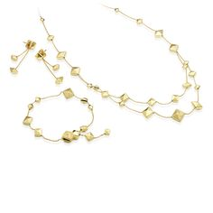 CHIMENTO Armillas Pyramis yellow gold neklace, bracelet and earrings