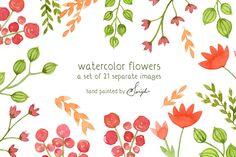 Watercolor Flowers, Floral Clipart by swiejko on Creative Market