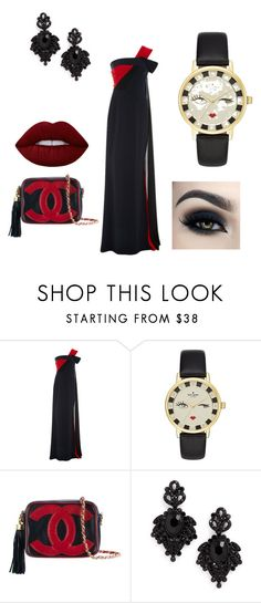 """""""fancy and expensive"""" by athena420 ❤ liked on Polyvore featuring Elizabeth Kennedy, Kate Spade, Chanel, Tasha, Lime Crime and Too Faced Cosmetics"""