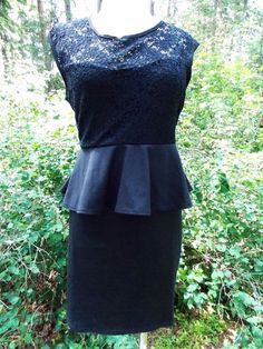 Deb Dress Size 1X Plus Little Black Peplum Lace Pencil Vintage Inspired Mini #Deb #Peplum #LittleBlackDress