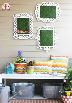 Outdoor DIY framed moss wall art.