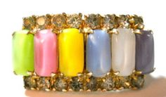 Vintage Barrel Shape Rainbow Cabochons Clip On Earrings!  Amazing colors!