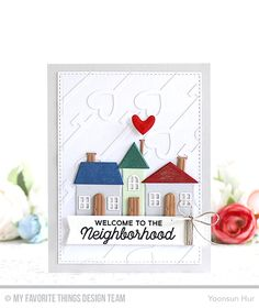 card house home heart key scene MFT Home sweet Home Die-namics, MFT No Place Like Home stamp set Card Kit Die-namics - Torico Welcome Home Cards, New Home Cards, House Of Cards, Housewarming Card, Homemade Birthday Cards, Cards For Friends, Friend Cards, Mft Stamps, Congratulations Card