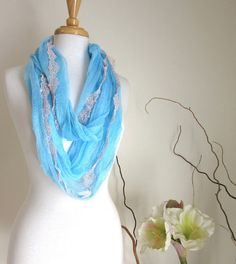 Blue Cotton Infinity Scarf  Hand Dyed Scarves  Blue Circle