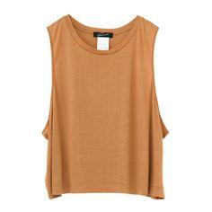 Gloss short tank ($52) ❤ liked on Polyvore featuring tops, shirts, tank tops, tanks, wet look top, short shirts, shiny shirt, beige tank top and polish shirts
