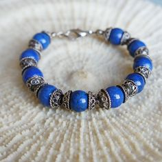 CHRISTMAS SALE !!! USE COUPON CODE '10OFF' , GET 10% DISCOUNT ON EVERYTHING!!! Lapis Bracelet. Sterling silver lapis bracelet Lapis by CharmByIA