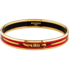Pre-owned Hermes Narrow Enamel Bangle (£245) ❤ liked on Polyvore featuring jewelry, bracelets, gold, 18 karat gold jewelry, pre owned jewelry, bangle bracelet, hermes bangle and 18k bangle bracelet