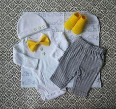 Baby Boy Newborn Layette Set Yellow Socks Bow by LeopardLaceLove