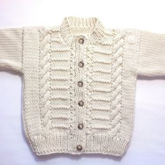 Toddler Aran cardigan 12 to 24 months Aran baby sweater Baby Knitting Patterns, Baby Cardigan Knitting Pattern, Knitted Baby Cardigan, Baby Pullover, Knit Vest, Knitting Designs, Hand Knitting, Baby Blue Sweater, Baby Sweaters