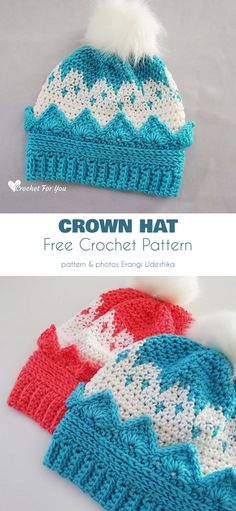 Crown Hat Free Crochet Pattern It is an easy project which will be good practice for the ambitious beginner. Crochet Baby Hats, Crochet Gifts, Free Crochet, Knitted Hats, Easy Crochet, Princess Hat, Little Princess, Baby Girl Patterns, Hat Crafts