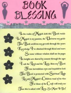 Book of Shadows:  Book Blessing.