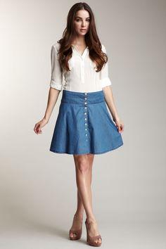 3325c0e8a9 Button Front Denim Skirt