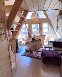 Tiny House Loft, Tiny House Living, Tiny House Design, Cabin Design, A Frame House Plans, A Frame Cabin, Triangle House, Tiny House Movement, House In The Woods