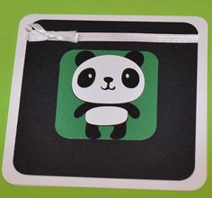 SALE Panda Card Black White Green Ready to by CardsbyJeweleighaB ON ETSY.