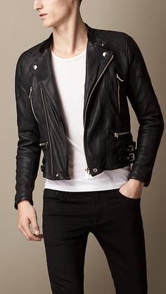 Black Washed Leather Biker Jacket - Image 1
