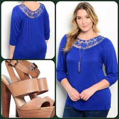 Crochet Accented Royal Top This beautiful top features crochet on upper rounded neckline with quarter sleeves. Nice comfy stretch material. 95% Rayon, 5% Spandex. ❌Price is firm unless bundled or goes on sale❌ Shoes not listed. ( This closet does not trade or use PayPal ) Araxa Tops Blouses