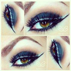 dramatic black smokey eye makeup with silver glitter liner  @Beeta Rasouli BEAUTY