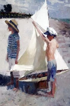 C W Mundy - American artist - Jake and Ann with a pond yacht | por oldsailro