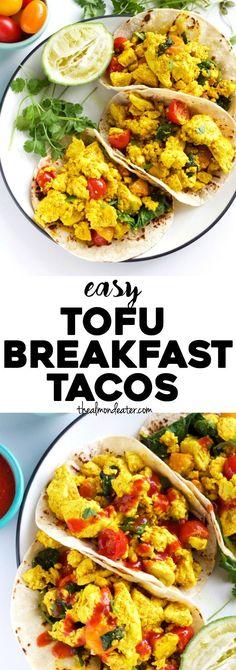 Healthy 8-ingredient TOFU breakfast tacos that are #vegan too! | thealmondeater.com