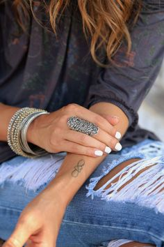 Boho Jewelry, Boho Chunky Ring: A wide highly textured 1970's crochet design is embedded into a elongated oval of solid sterling silver for a cool retro hippie allure, yet it tapers dramatically in th