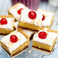 Bakewell tart tray bake  Think I'll miss out the icing when I try this.