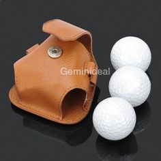 Leather Golf Ball Belt Bag Pouch w 3 Golf Balls Set
