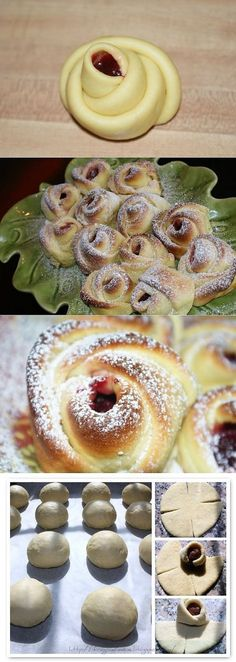 rose buns by whitney (dessert food powdered sugar) Bread Shaping, Bread And Pastries, Sweet Bread, Creative Food, Sweet Recipes, Dessert Recipes, Food And Drink, Cooking Recipes, Yummy Food