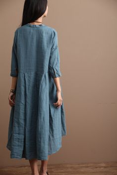 Loose Fitting Linen Long Shirt Blouse for Women  - Blue - Women Clothing