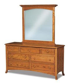 "Amish Carlisle 66"" Seven Drawer Dresser with Optional Mirror Solid wood storage in choice of wood, stain and hardware. Built in Amish country. #dresser #dresserwithmirror #bedroomdresser #wooddresser"