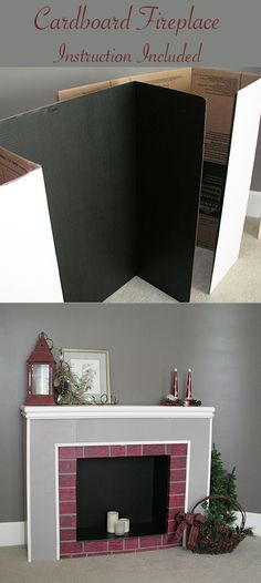 Cardboard fireplace from trifold display boards