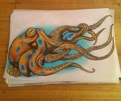 Neo Traditional blue ringed octopus tattoo design