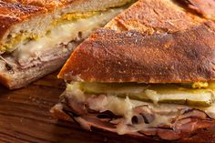 Cuban Sandwiches  Instead of wrapping the sandwich and weighting in down, you can use a panini or sandwich maker.  I think the pickles make the sandwich.