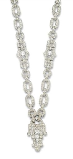 AN ELEGANT ART DECO DIAMOND NECKLACE, BY CARTIER. Designed as a series of openwork geometric links set throughout with old-cut diamonds, centring upon a shield-shaped pendant of similar motif, detaching to form two bracelets and a brooch, mounted in platinum, circa 1930. Signed Cartier London. #Cartier #ArtDeco #necklace