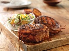 Smoky Hot Chops with Cool Cucumber-Tomato Salad - Pork Recipes - Pork Be Inspired