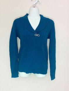 "Karen Scott ""Aqua Lake"" blue v-neck collared sweater w/ pendant, XS, #3649 #KarenScott #Collared"