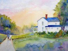 """Big Blue Home"" - Original Fine Art for Sale - © Judy Mudd"
