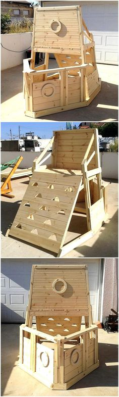 Here is another awesome idea for allowing an interesting place for the kids to play inside the home, this is a kids play yard. The piece created with the pallets is not painted with any color; but it is looking great because the design is unique.