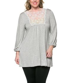 Another great find on #zulily! Heather Gray Lace-Bib Blouson Top - Plus by Celeste #zulilyfinds