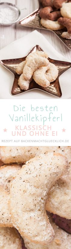 This traditional vanilla kipper is deliciously crunchy and incredibly delicious. The recipe for vanilla Kipferl comes without eggs and nuts; For the vegan version of the vanilla kipferl, just take mar Vegan Christmas Cookies, Xmas Cookies, No Bake Cookies, Cookies Et Biscuits, Christmas Baking, Christmas Recipes, Vanilla Recipes, Sweet Recipes, Baking Recipes