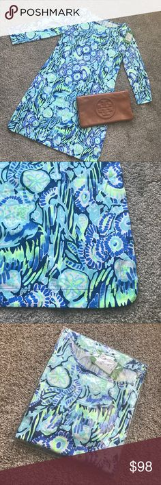 NWT Lilly Pulitzer Marlowe dress NWT Lilly Marlowe dress in Indigo Sunset Swim.  Size Small. Light, breathable material Lilly Pulitzer Dresses