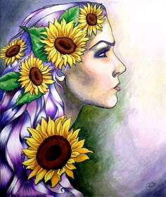 Clytie Print (Greek Mythology Tragic Woman in Violet, Gold, Yellow, Brown and Green in Psychedelic Copic Marker drawing) by PaintMyWorldRainbow Copic Marker Drawings, Copic Markers, Lotus Pose, Copic Art, Sunflower Art, Watercolor Paintings, Ink Paintings, Greek Mythology, Types Of Art