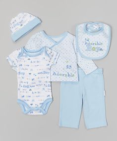 Look what I found on #zulily! Blue 'Adorable Boy' Five-Piece Layette Set - Infant by Vitamins Baby #zulilyfinds