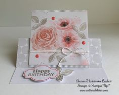handmade birthday card from AstheInkDries: Sentimental Rose . grays with pink flowers . Stampin' Up! Happy Birthday Sharon, Acetate Cards, Stampin Up Paper Pumpkin, Pumpkin Cards, Image Stamp, Pink Cards, Beautiful Handmade Cards, Flower Stamp, Handmade Birthday Cards