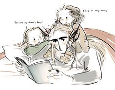 Thranduil with little Legolas and little Bard http://wavesheep.tumblr.com